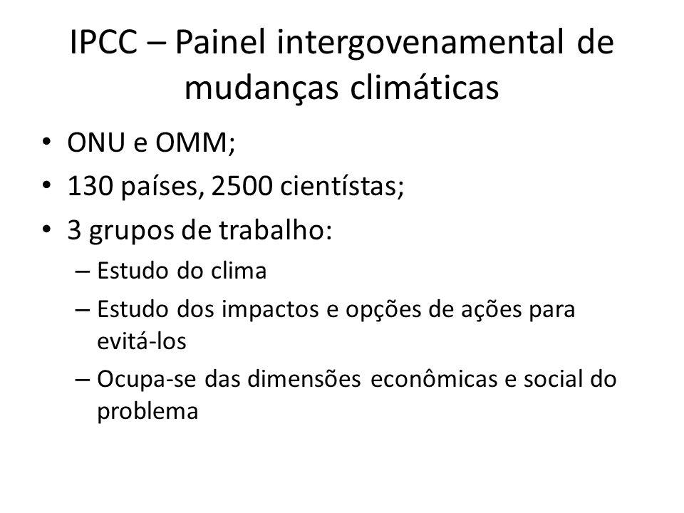 IPCC – Painel intergovenamental de mudanças climáticas • ONU e OMM; • 130 países, 2500 cientístas; • 3 grupos de trabalho: – Estudo do clima – Estudo dos impactos e opções de ações para evitá-los – Ocupa-se das dimensões econômicas e social do problema