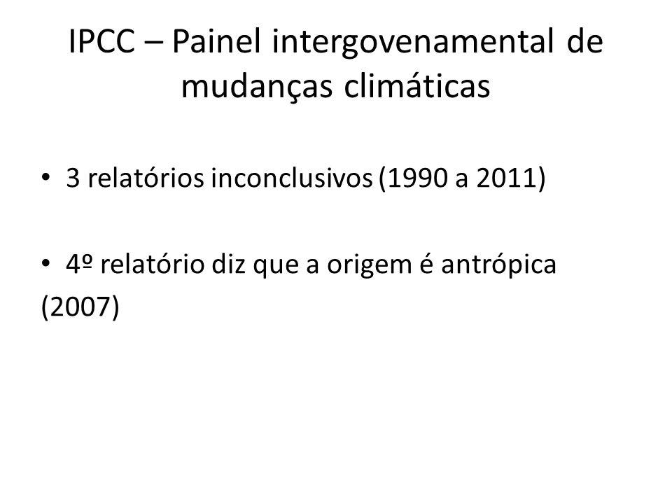 • 3 relatórios inconclusivos (1990 a 2011) • 4º relatório diz que a origem é antrópica (2007) IPCC – Painel intergovenamental de mudanças climáticas