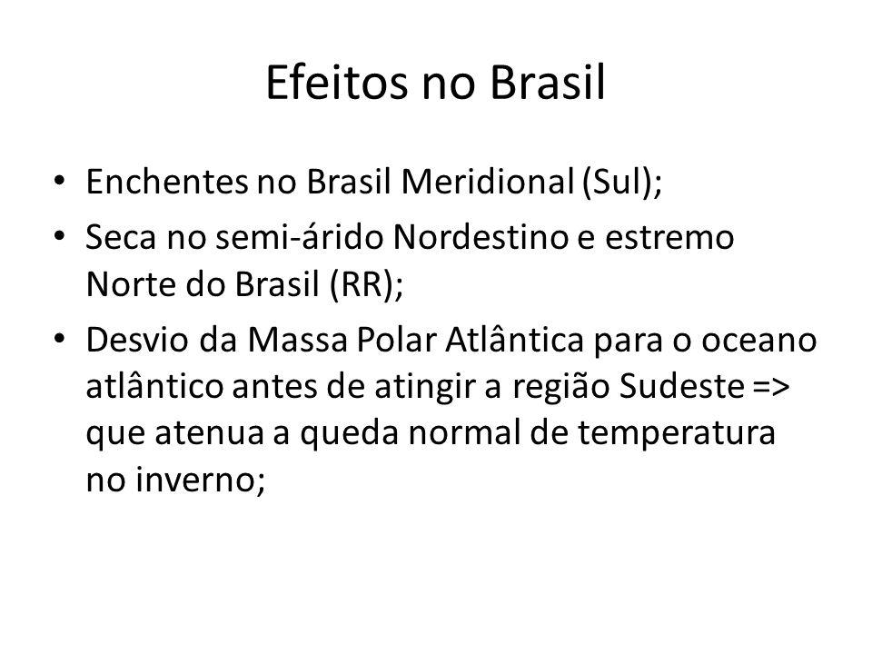 Efeitos no Brasil • Enchentes no Brasil Meridional (Sul); • Seca no semi-árido Nordestino e estremo Norte do Brasil (RR); • Desvio da Massa Polar Atlântica para o oceano atlântico antes de atingir a região Sudeste => que atenua a queda normal de temperatura no inverno;