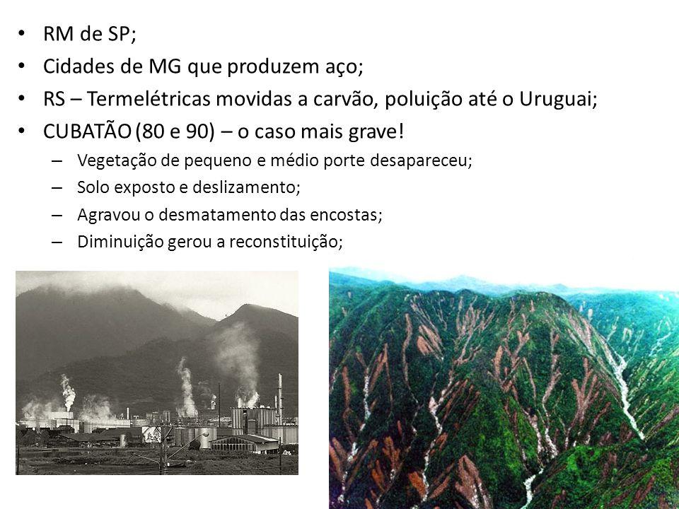• RM de SP; • Cidades de MG que produzem aço; • RS – Termelétricas movidas a carvão, poluição até o Uruguai; • CUBATÃO (80 e 90) – o caso mais grave.