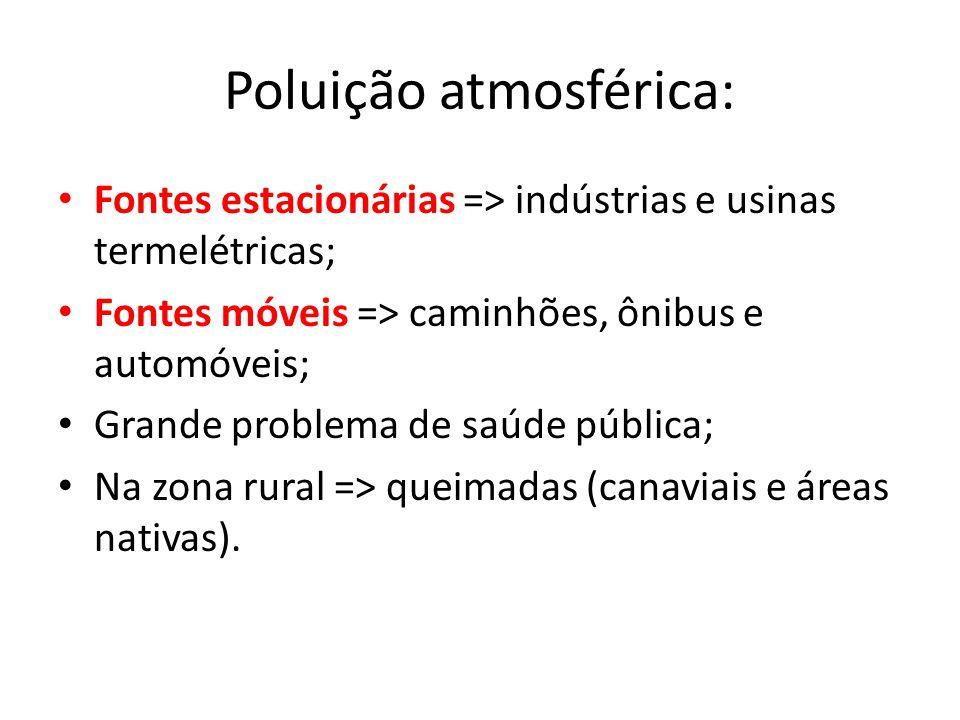 • Causadores: – Dióxido de nitrogênio; – 90% de dióxido de enxofre vem da queima de carvão de petróleo; – Diminuindo; – Trióxido de enxofre (dóxido de enxofre emitido pela queima de combustíveis fósseis e do O já presente na atmosfera); – 70% do Dióxido de nitrogênio vem dos veículos automotores – Aumentando; CHUVAS ÁCIDAS