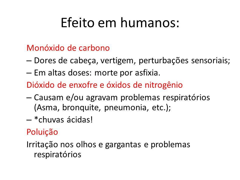 Efeito em humanos: Monóxido de carbono – Dores de cabeça, vertigem, perturbações sensoriais; – Em altas doses: morte por asfixia.