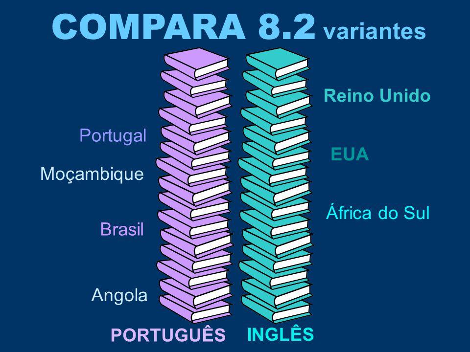 COMPARA 8.2 variantes Portugal Brasil Angola Moçambique Reino Unido EUA África do Sul PORTUGUÊS INGLÊS
