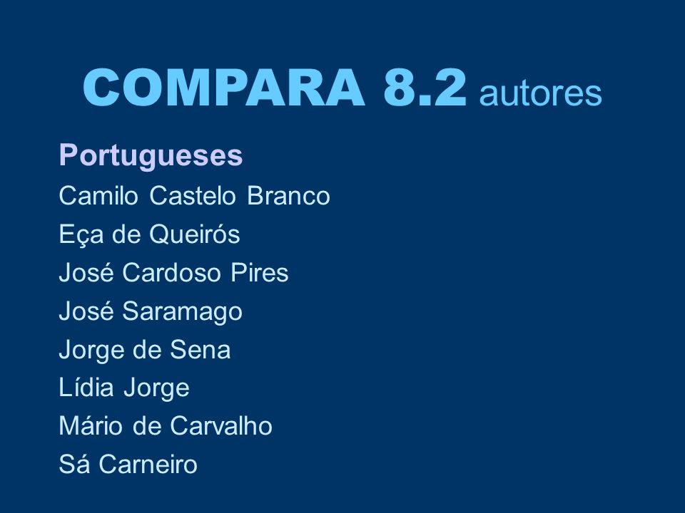 COMPARA 8.2 autores Portugueses Camilo Castelo Branco Eça de Queirós José Cardoso Pires José Saramago Jorge de Sena Lídia Jorge Mário de Carvalho Sá C