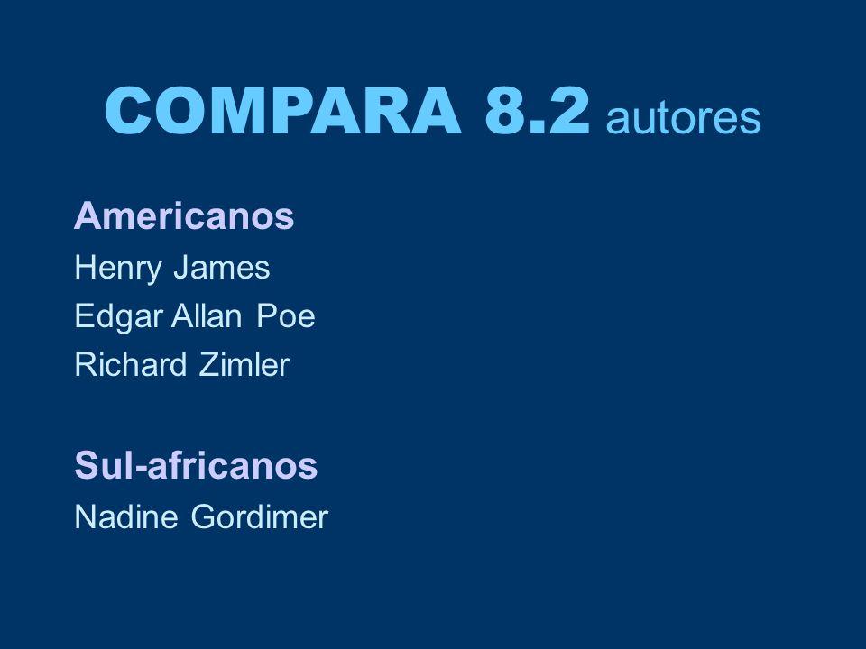COMPARA 8.2 autores Americanos Henry James Edgar Allan Poe Richard Zimler Sul-africanos Nadine Gordimer