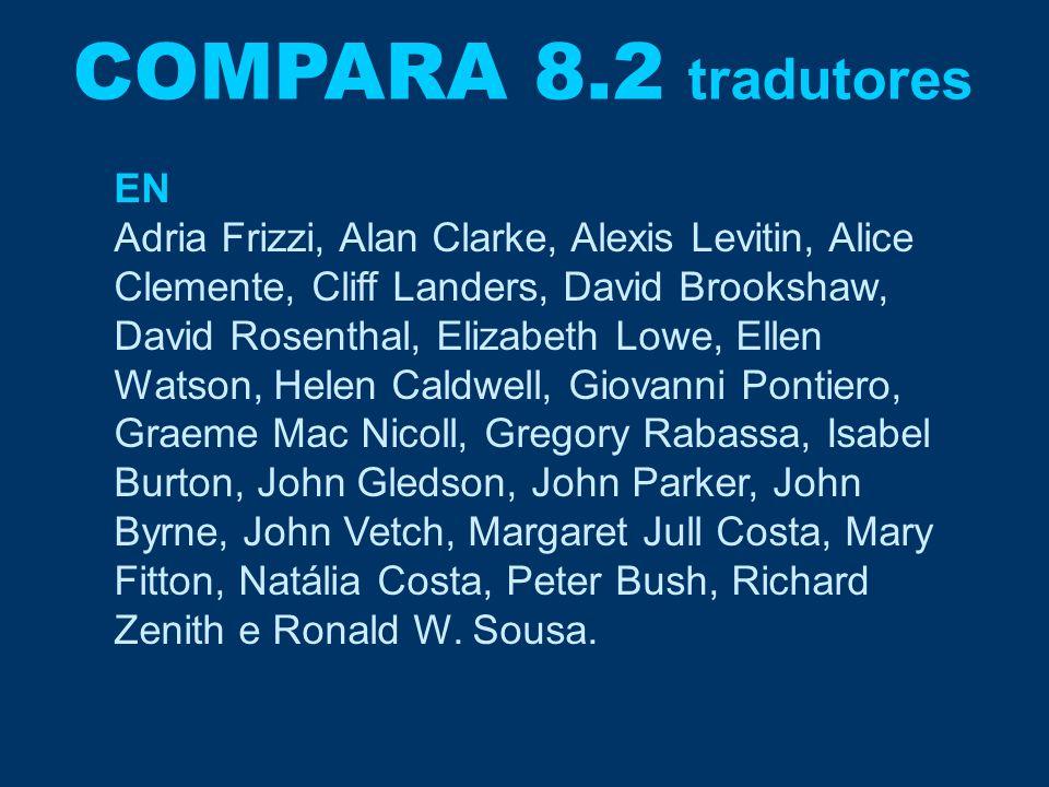 COMPARA 8.2 tradutores EN Adria Frizzi, Alan Clarke, Alexis Levitin, Alice Clemente, Cliff Landers, David Brookshaw, David Rosenthal, Elizabeth Lowe,