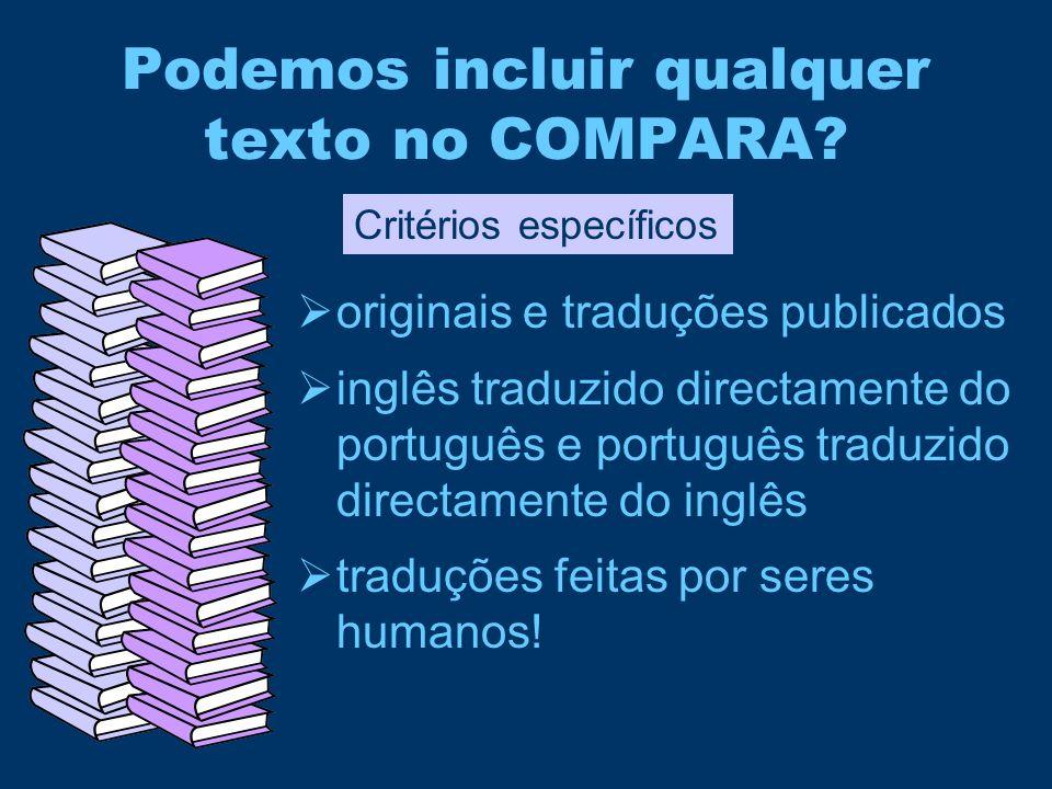 Podemos incluir qualquer texto no COMPARA?  originais e traduções publicados  inglês traduzido directamente do português e português traduzido direc