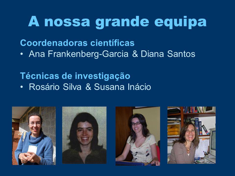 A nossa grande equipa Coordenadoras científicas •Ana Frankenberg-Garcia & Diana Santos Técnicas de investigação •Rosário Silva & Susana Inácio