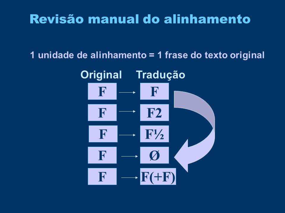 Revisão manual do alinhamento 1 unidade de alinhamento = 1 frase do texto original F F F F F2 FF(+F) F F½ Ø OriginalTradução