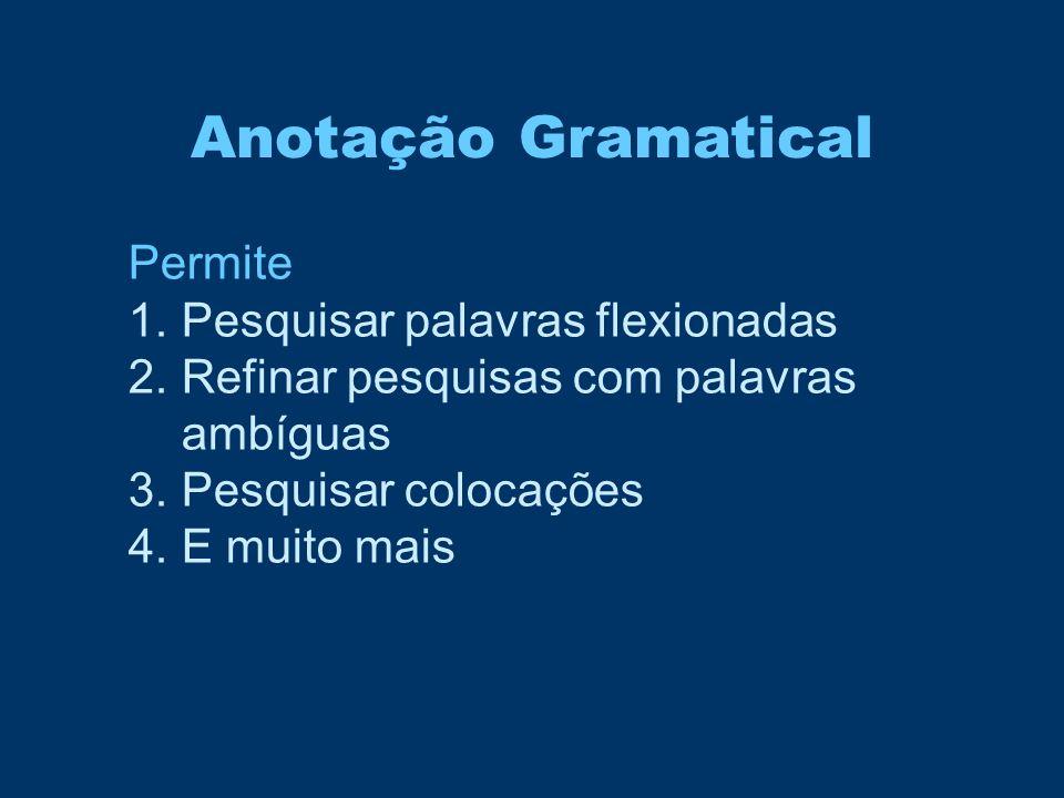 Anotação Gramatical Permite 1.Pesquisar palavras flexionadas 2.Refinar pesquisas com palavras ambíguas 3.Pesquisar colocações 4.E muito mais