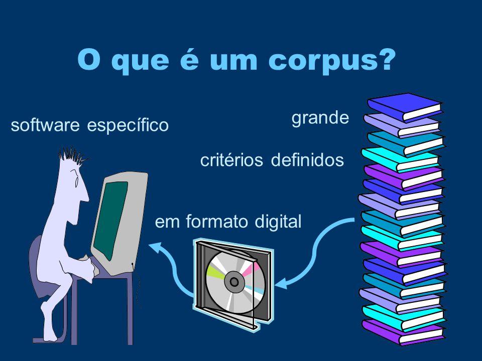 O que é um corpus? grande critérios definidos software específico em formato digital