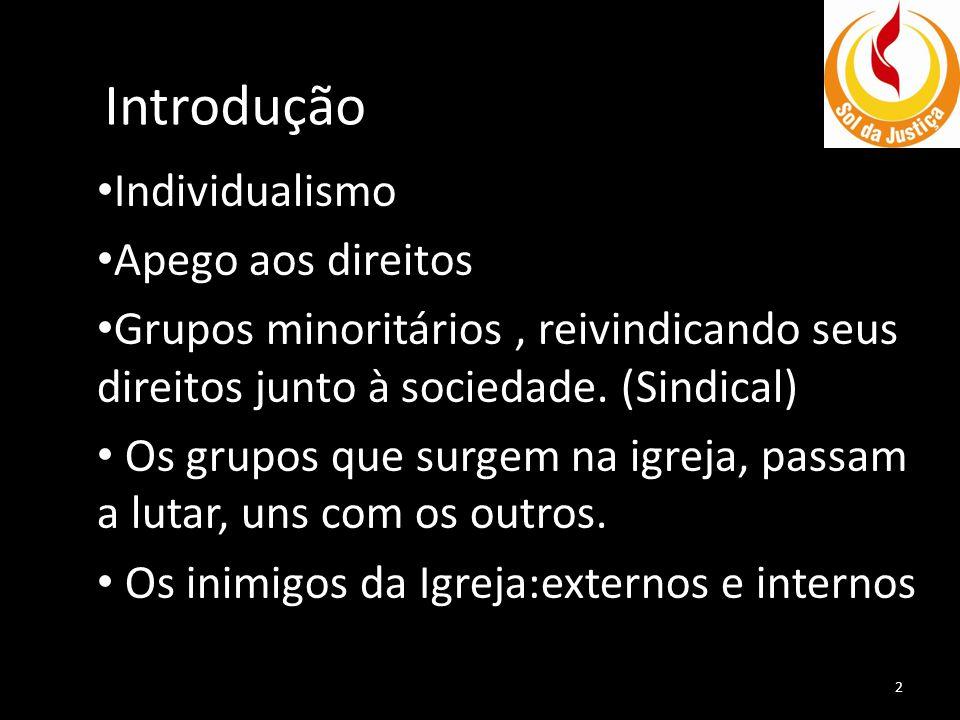 Introdução • Individualismo • Apego aos direitos • Grupos minoritários, reivindicando seus direitos junto à sociedade. (Sindical) • Os grupos que surg