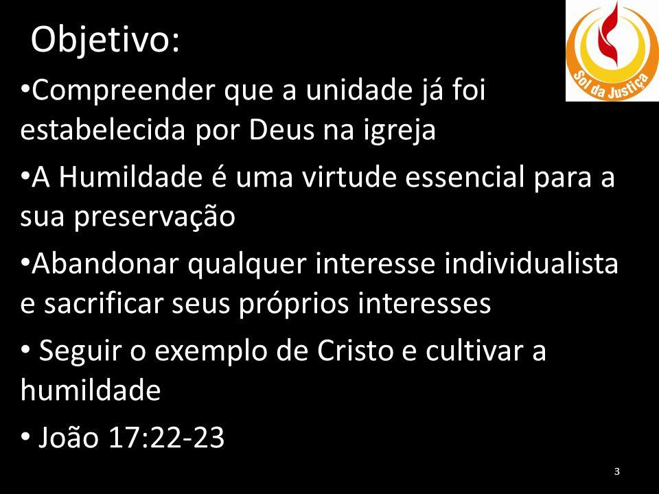 Objetivo: • Compreender que a unidade já foi estabelecida por Deus na igreja • A Humildade é uma virtude essencial para a sua preservação • Abandonar