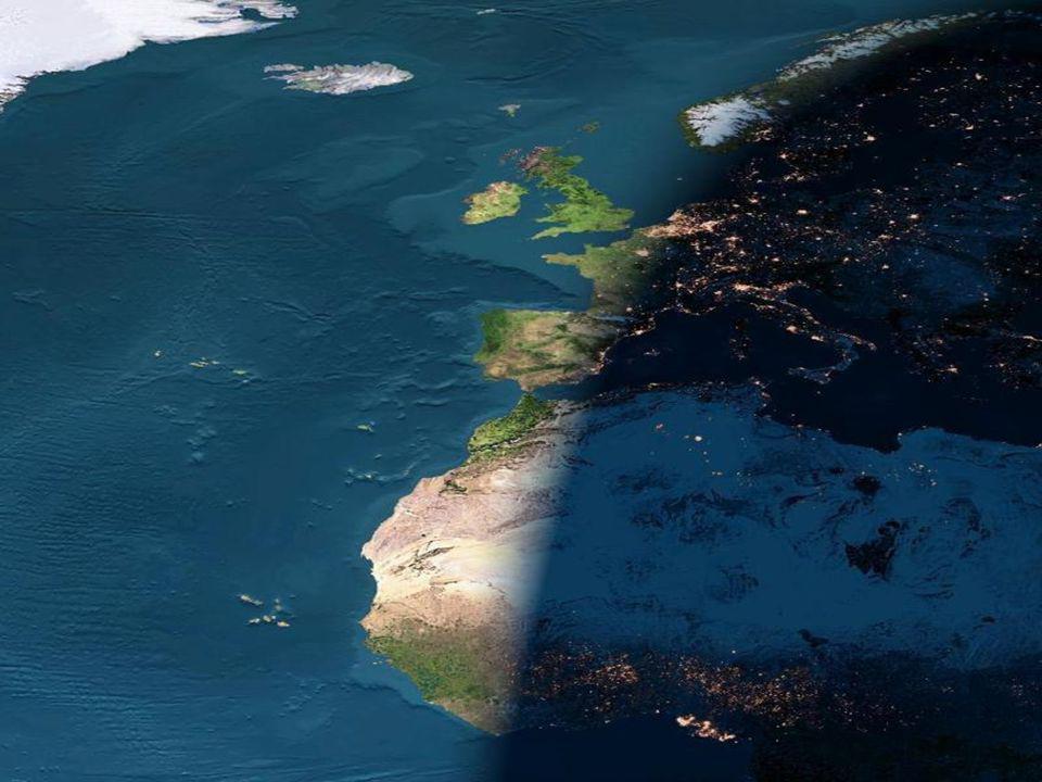 Cai a noite sobre a Europa e a Africa ocidental.