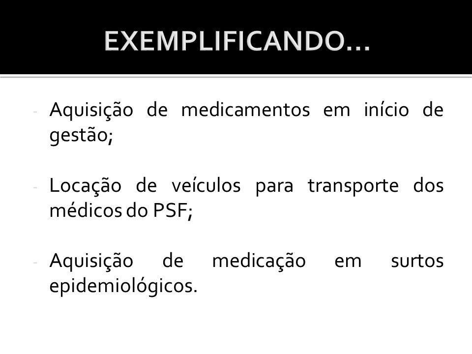 - Aquisição de medicamentos em início de gestão; - Locação de veículos para transporte dos médicos do PSF; - Aquisição de medicação em surtos epidemio