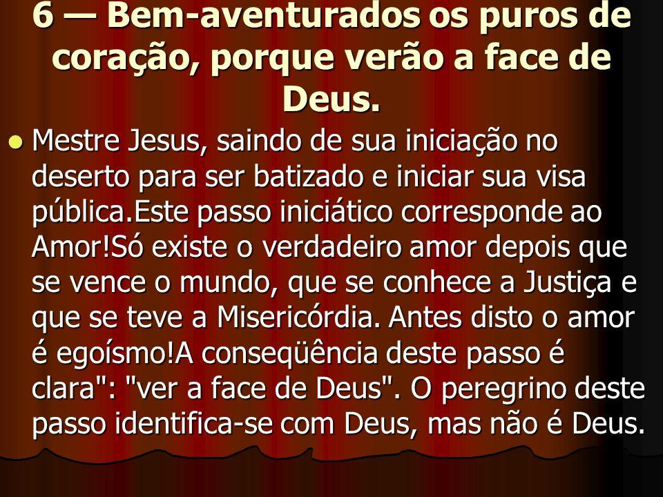 6 — Bem-aventurados os puros de coração, porque verão a face de Deus.  Mestre Jesus, saindo de sua iniciação no deserto para ser batizado e iniciar s