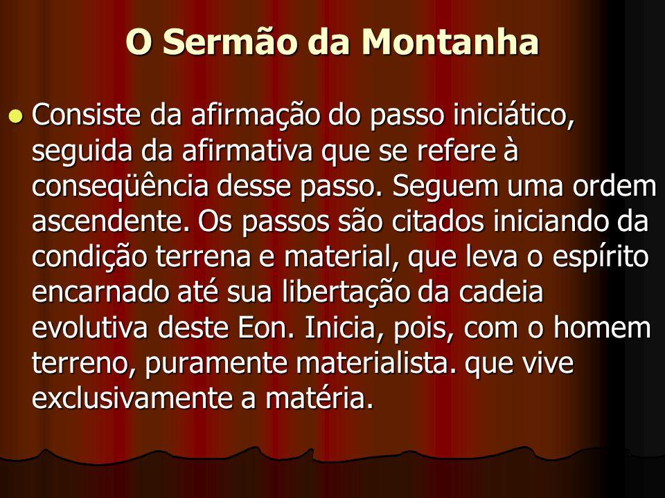 O Sermão da Montanha  Consiste da afirmação do passo iniciático, seguida da afirmativa que se refere à conseqüência desse passo. Seguem uma ordem asc