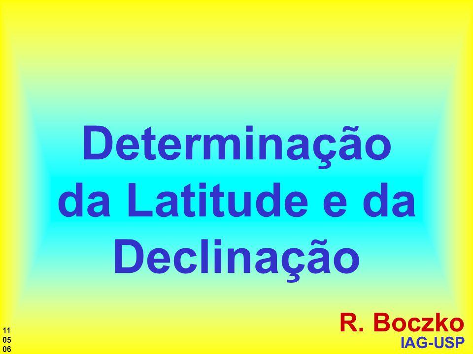 Determinação da Latitude e da Declinação R. Boczko IAG-USP 11 05 06
