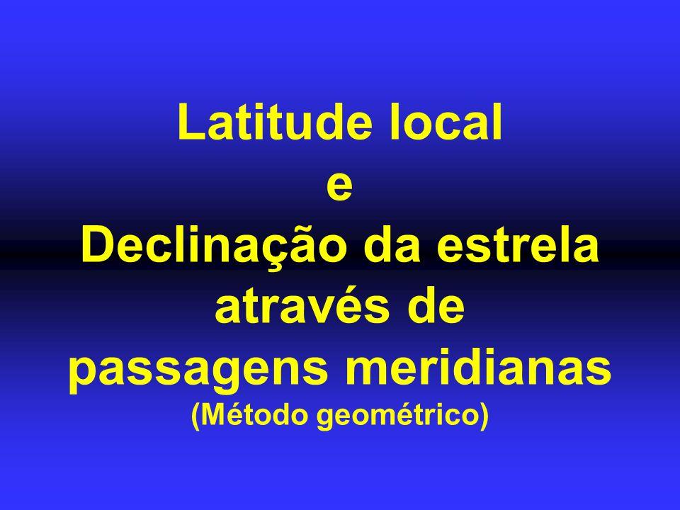 Latitude local e Declinação da estrela através de passagens meridianas (Método geométrico)
