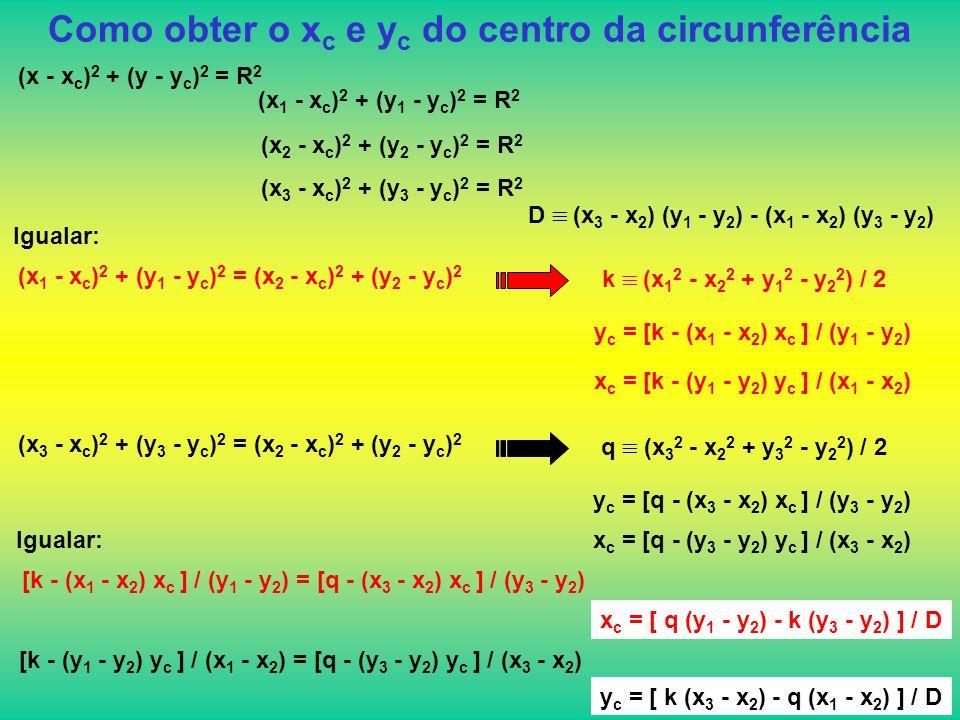 Como obter o x c e y c do centro da circunferência (x - x c ) 2 + (y - y c ) 2 = R 2 (x 1 - x c ) 2 + (y 1 - y c ) 2 = R 2 (x 2 - x c ) 2 + (y 2 - y c