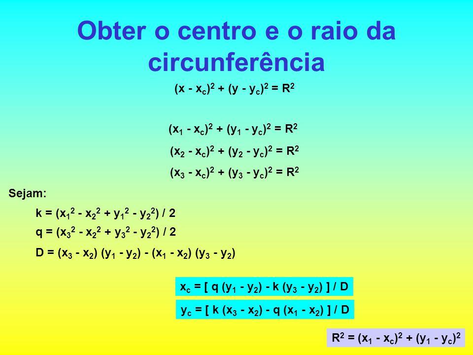 Obter o centro e o raio da circunferência (x - x c ) 2 + (y - y c ) 2 = R 2 (x 1 - x c ) 2 + (y 1 - y c ) 2 = R 2 (x 2 - x c ) 2 + (y 2 - y c ) 2 = R