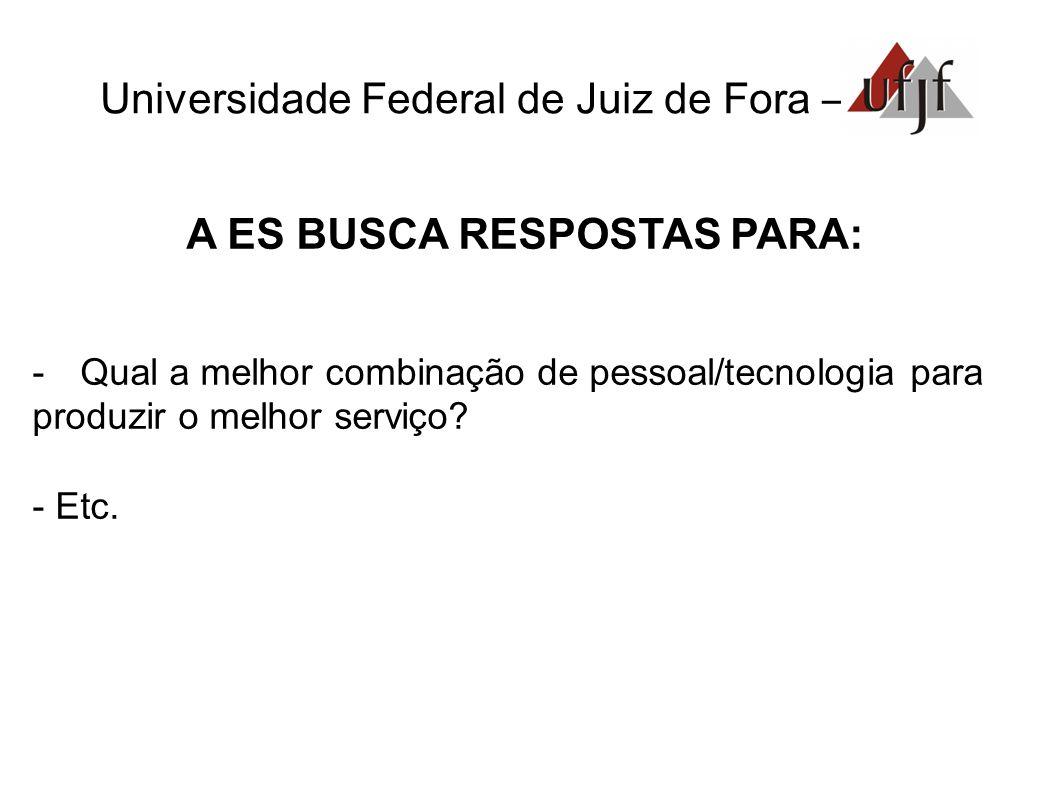 Universidade Federal de Juiz de Fora – A ES BUSCA RESPOSTAS PARA: -Qual a melhor combinação de pessoal/tecnologia para produzir o melhor serviço.