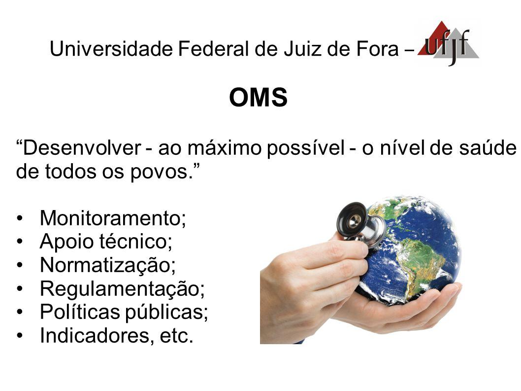 Universidade Federal de Juiz de Fora – OMS Desenvolver - ao máximo possível - o nível de saúde de todos os povos. •Monitoramento; •Apoio técnico; •Normatização; •Regulamentação; •Políticas públicas; •Indicadores, etc.