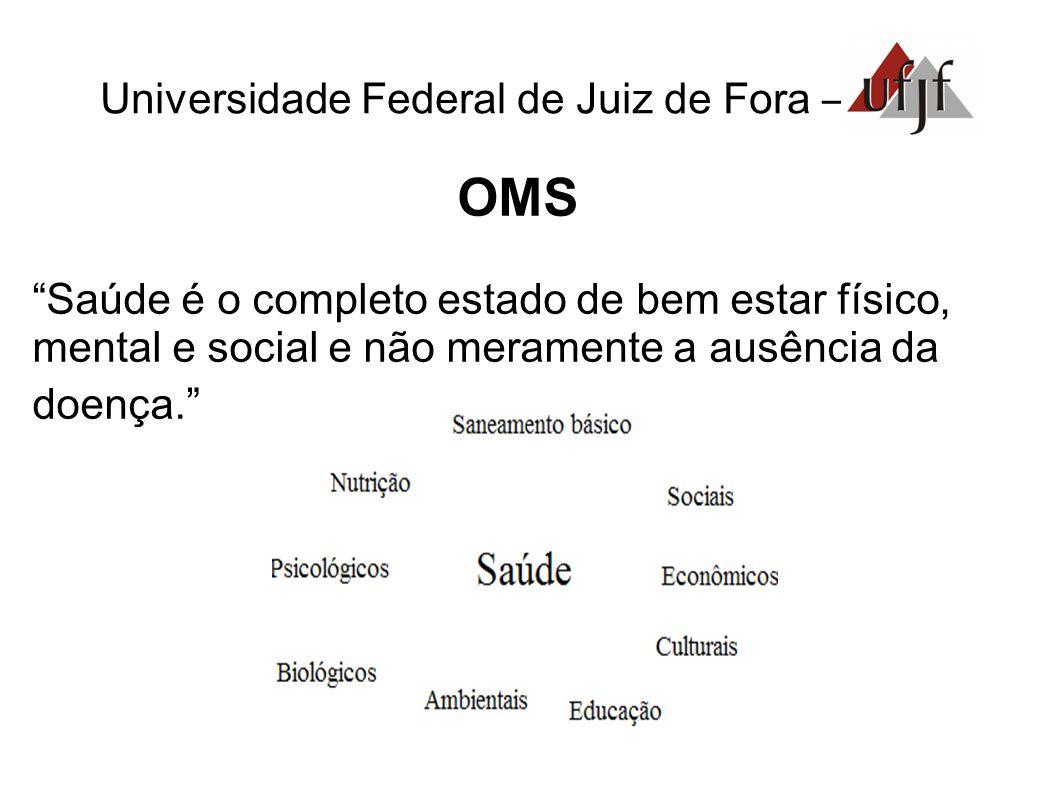 Universidade Federal de Juiz de Fora – OMS Saúde é o completo estado de bem estar físico, mental e social e não meramente a ausência da doença.