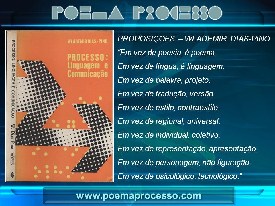 """PROPOSIÇÕES – WLADEMIR DIAS-PINO """"Em vez de poesia, é poema. Em vez de língua, é linguagem. Em vez de palavra, projeto. Em vez de tradução, versão. Em"""