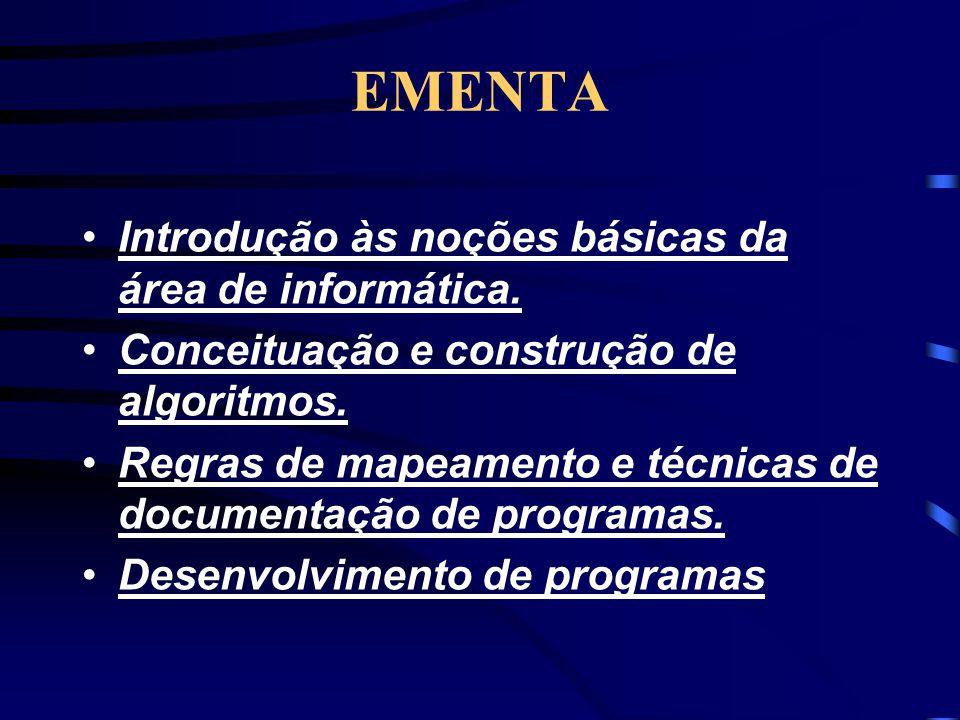 EMENTA •Introdução às noções básicas da área de informática.