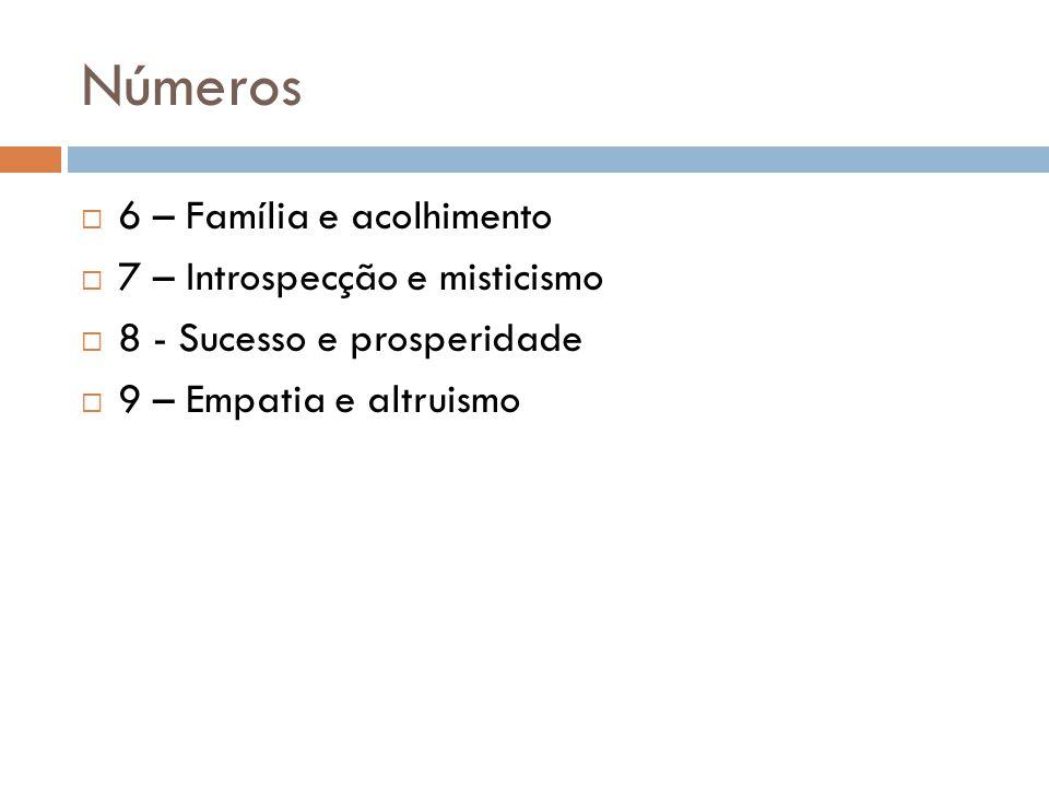 Números  6 – Família e acolhimento  7 – Introspecção e misticismo  8 - Sucesso e prosperidade  9 – Empatia e altruismo