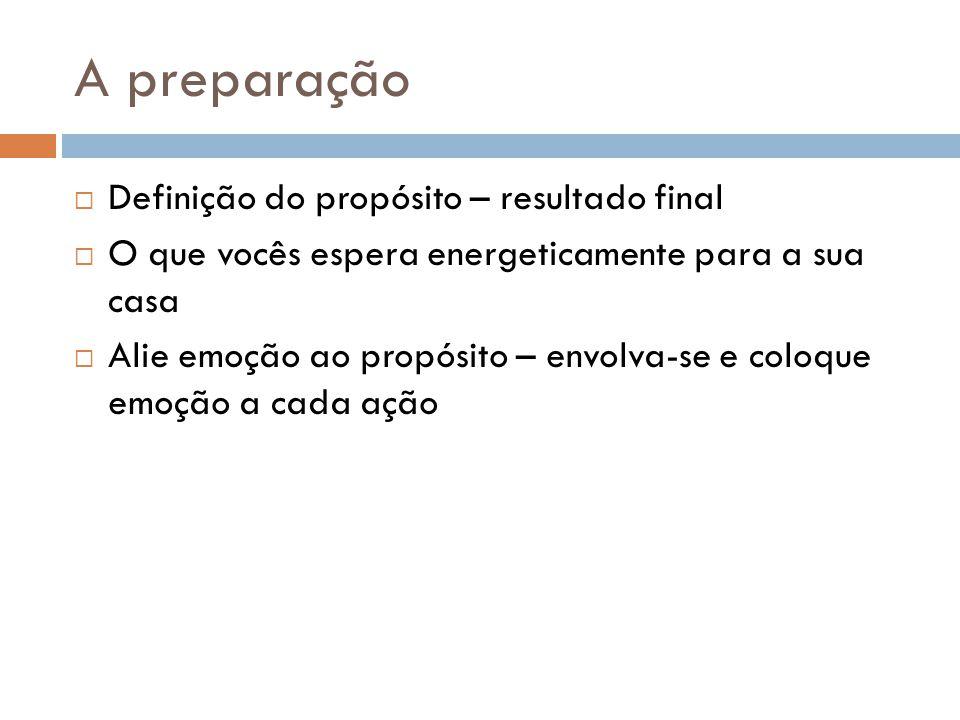 A preparação  Definição do propósito – resultado final  O que vocês espera energeticamente para a sua casa  Alie emoção ao propósito – envolva-se e