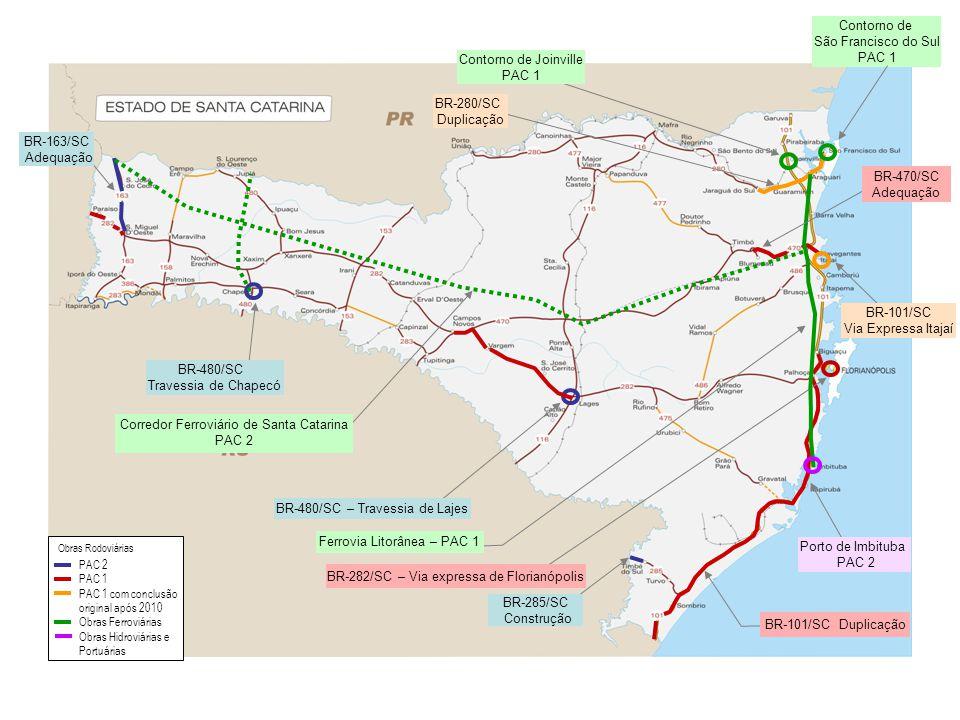 BR-163/SC Adequação BR-480/SC Travessia de Chapecó BR-480/SC – Travessia de Lajes BR-282/SC – Via expressa de Florianópolis BR-101/SC Duplicação Corre