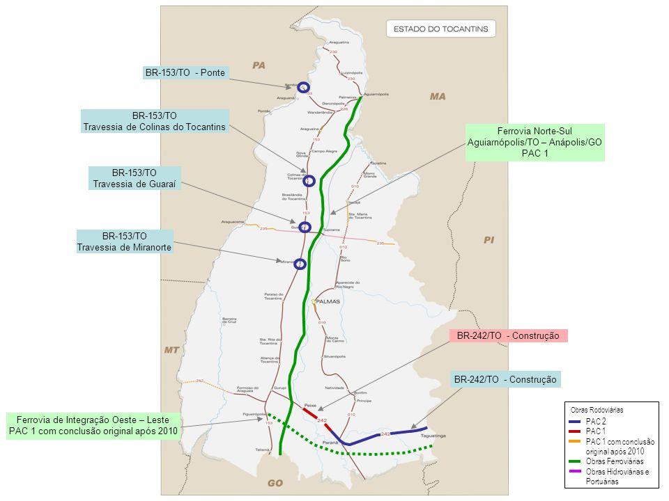 BR-242/TO - Construção BR-153/TO - Ponte BR-153/TO Travessia de Colinas do Tocantins BR-153/TO Travessia de Guaraí BR-153/TO Travessia de Miranorte Fe