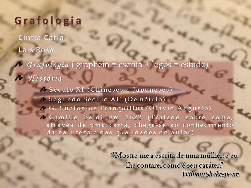 Grafologia ( graphein = escrita + logos = estudo) História História Século XI (Chineses e Japoneses) Século XI (Chineses e Japoneses) Segundo Século A