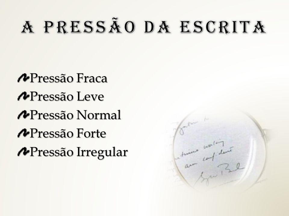 Pressão Fraca Pressão Leve Pressão Normal Pressão Forte Pressão Irregular