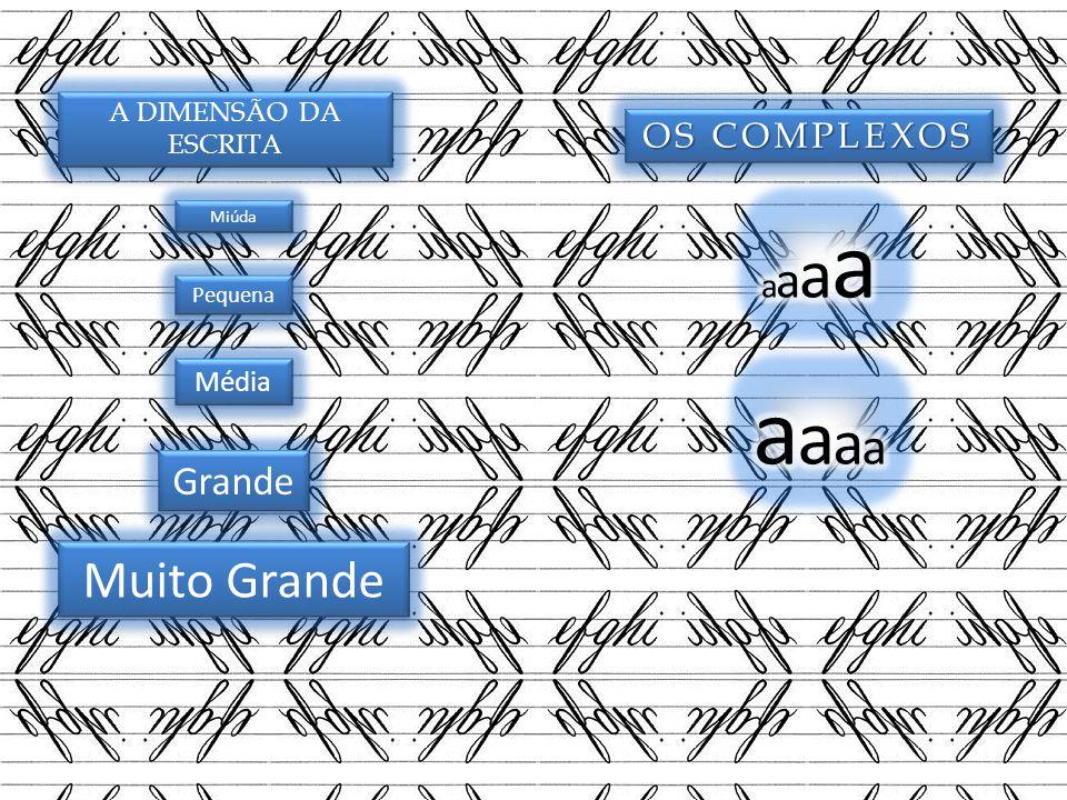 A DIMENSÃO DA ESCRITA Miúda Pequena Média Grande Muito Grande OS COMPLEXOS