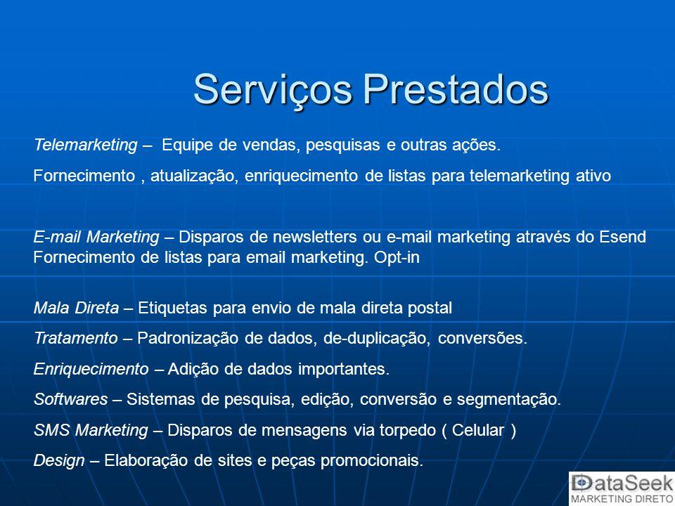 Serviços Prestados Telemarketing – Equipe de vendas, pesquisas e outras ações. Fornecimento, atualização, enriquecimento de listas para telemarketing