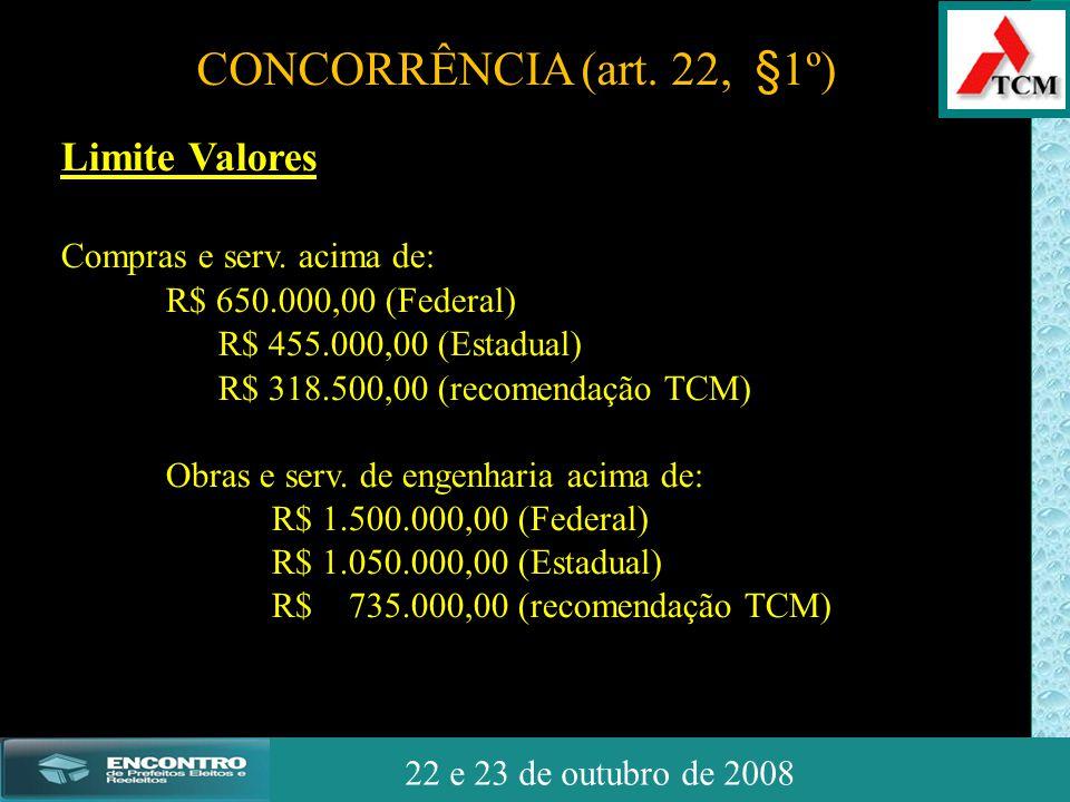 JSSdato22 de outubro de 2008 22 e 23 de outubro de 2008 Limite Valores Compras e serv. acima de: R$ 650.000,00 (Federal) R$ 455.000,00 (Estadual) R$