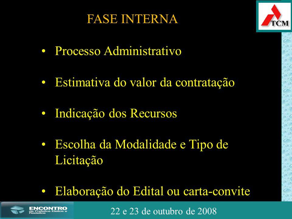 JSSdato22 de outubro de 2008 22 e 23 de outubro de 2008 • Processo Administrativo • Estimativa do valor da contratação • Indicação dos Recursos • Esco