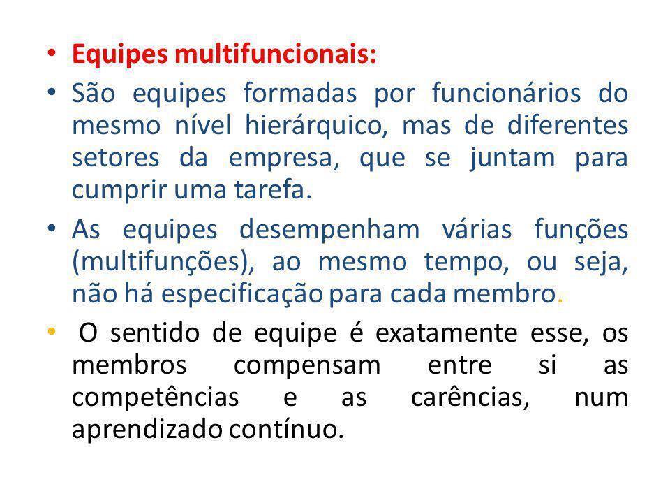 • Equipes multifuncionais: • São equipes formadas por funcionários do mesmo nível hierárquico, mas de diferentes setores da empresa, que se juntam par
