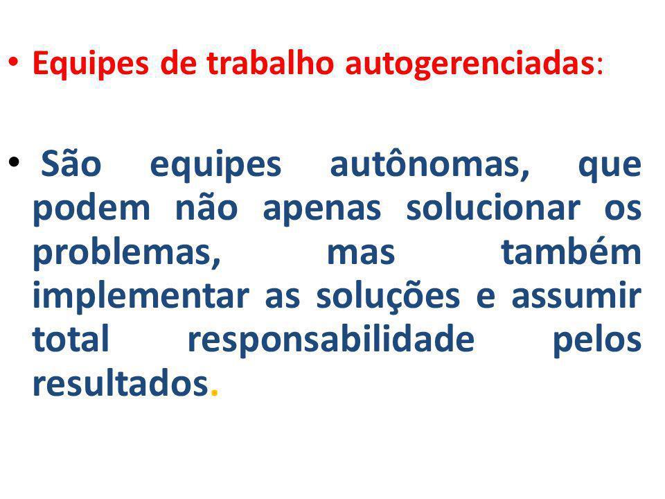 • Equipes de trabalho autogerenciadas: • São equipes autônomas, que podem não apenas solucionar os problemas, mas também implementar as soluções e ass