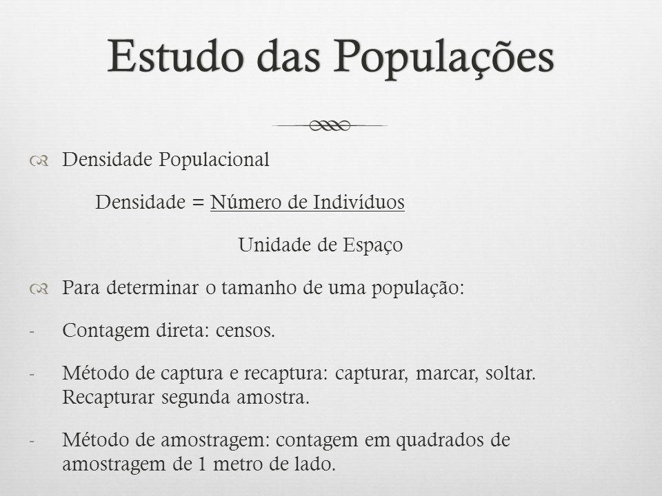 Estudo das PopulaçõesEstudo das Populações  Densidade Populacional Densidade = Número de Indivíduos Unidade de Espaço  Para determinar o tamanho de