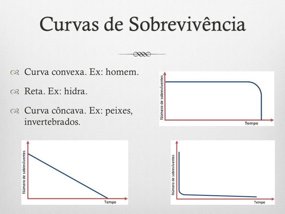 Curvas de SobrevivênciaCurvas de Sobrevivência  Curva convexa. Ex: homem.  Reta. Ex: hidra.  Curva côncava. Ex: peixes, invertebrados.