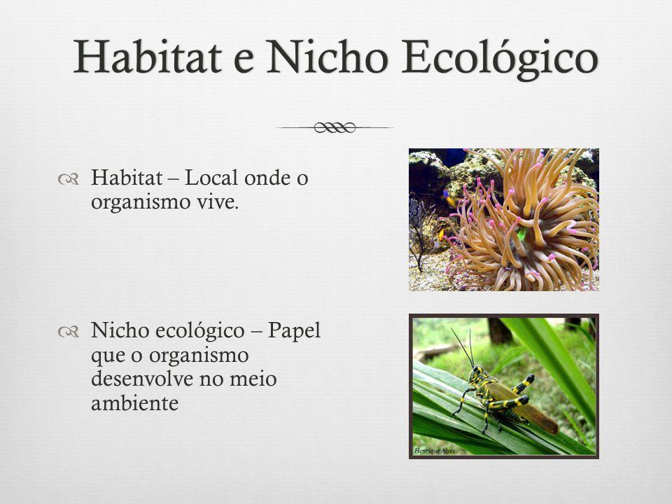 Habitat e Nicho EcológicoHabitat e Nicho Ecológico  Habitat – Local onde o organismo vive.  Nicho ecológico – Papel que o organismo desenvolve no me