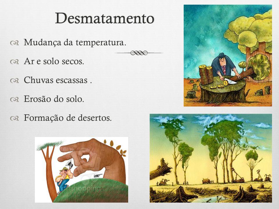 Desmatamento  Mudança da temperatura.  Ar e solo secos.  Chuvas escassas.  Erosão do solo.  Formação de desertos.
