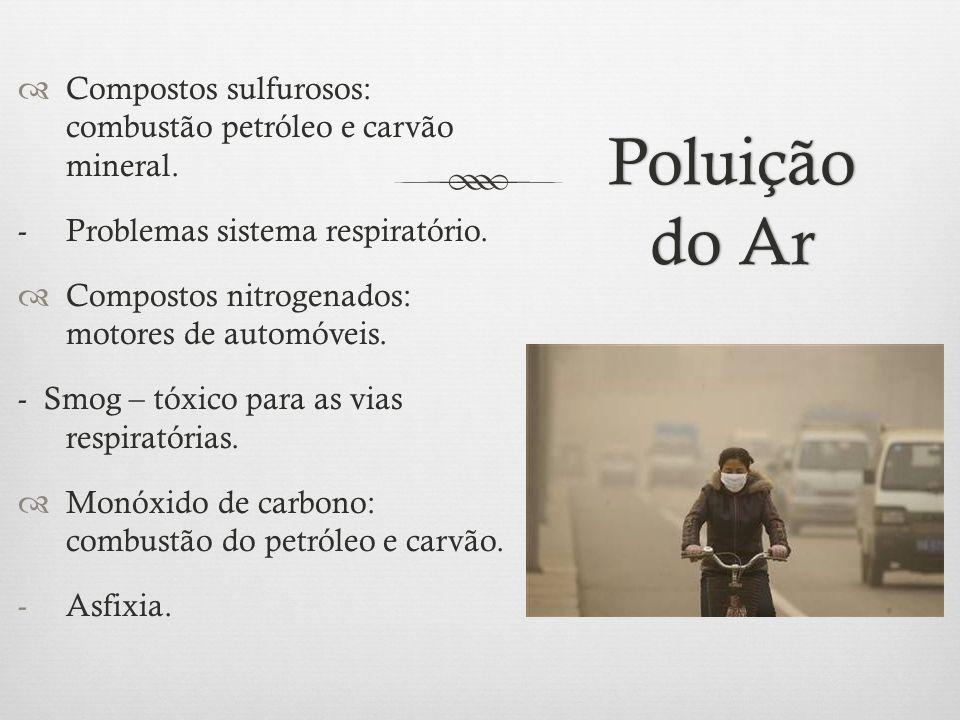 Poluição do Ar  Compostos sulfurosos: combustão petróleo e carvão mineral. - Problemas sistema respiratório.  Compostos nitrogenados: motores de aut