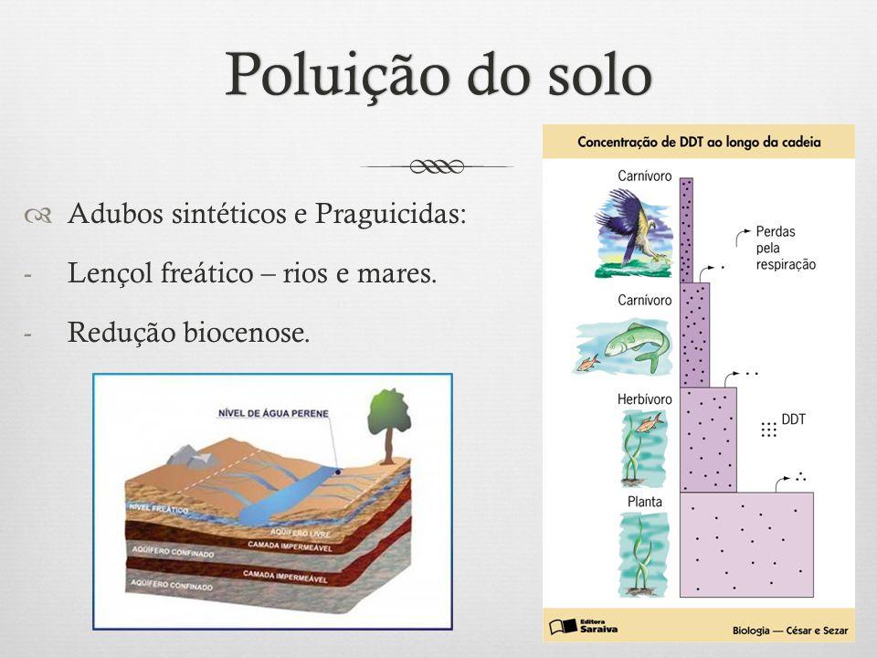 Poluição do soloPoluição do solo  Adubos sintéticos e Praguicidas: -Lençol freático – rios e mares. -Redução biocenose.