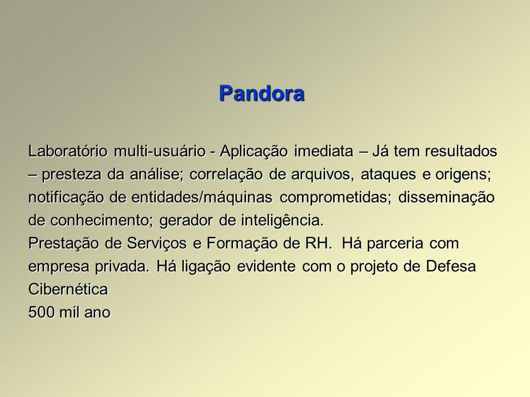 Pandora Laboratório multi-usuário - Aplicação imediata – Já tem resultados – presteza da análise; correlação de arquivos, ataques e origens; notificação de entidades/máquinas comprometidas; disseminação de conhecimento; gerador de inteligência.