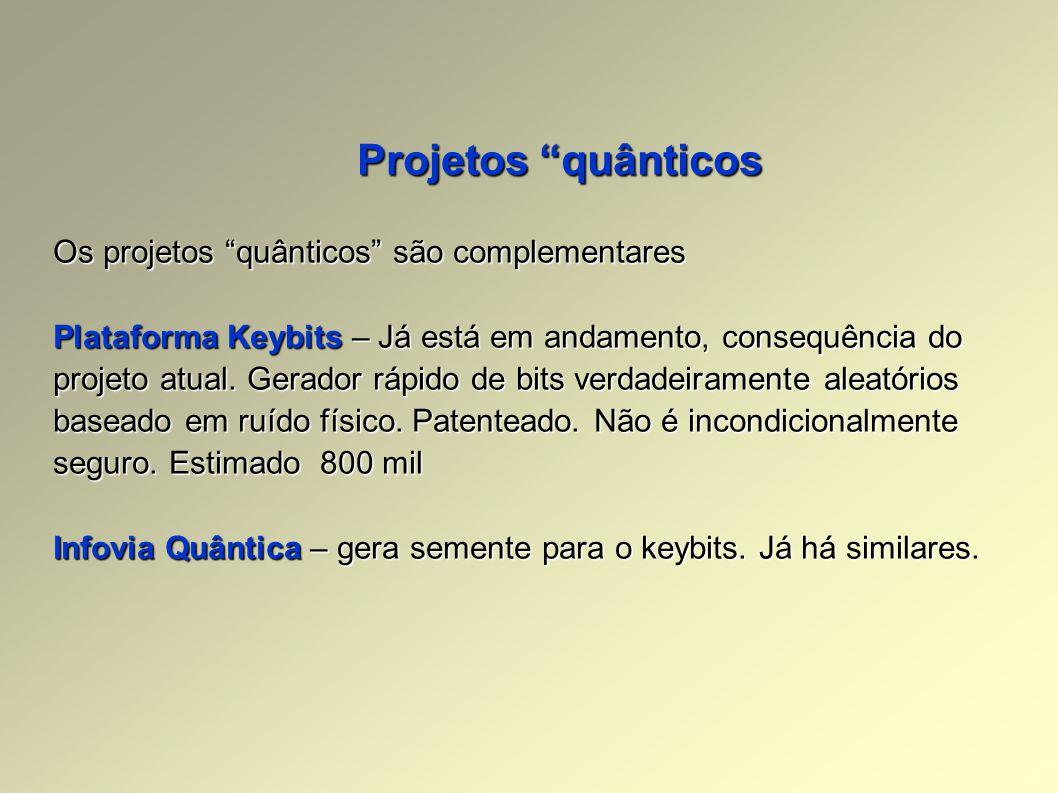 Projetos quânticos Os projetos quânticos são complementares Plataforma Keybits – Já está em andamento, consequência do projeto atual.
